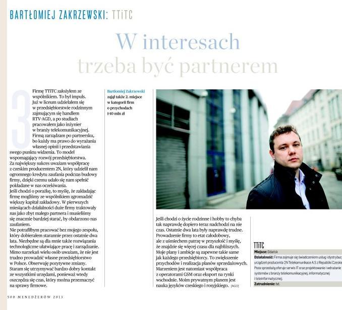 Wywiad z Bartłomiejem Zakrzewskim - prezesem TTiTC